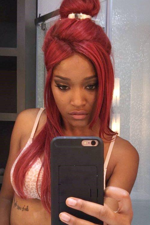 Keke Palmer Straight Burgundy Angled Bun HalfUp HalfDown Hairstyle  Steal Her Style