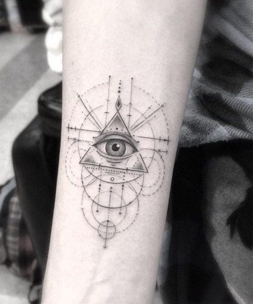 Geometric Eye Tattoo : geometric, tattoo, Ferreira, Circle,, Geometric, Design,, Lines, Forearm, Tattoo, Steal, Style