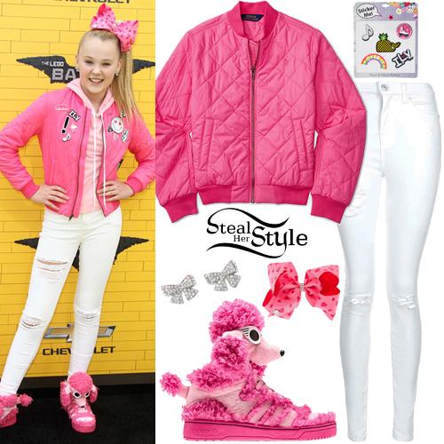 JoJo Siwa Pink Bomber Jacket Poodle Sneakers Steal Her