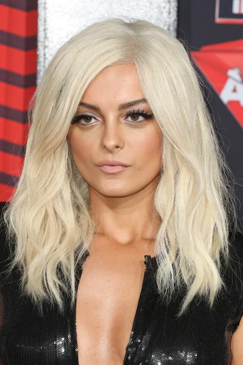 Bebe Rexha Wavy Platinum Blonde Bob Hairstyle Steal Her