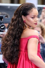 rihanna curly dark brown bouffant
