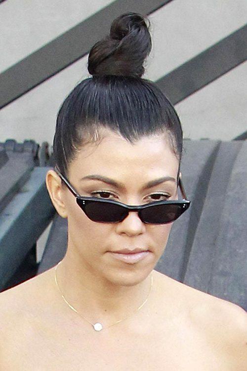 Kourtney Kardashian Straight Dark Brown Bun Hairstyle