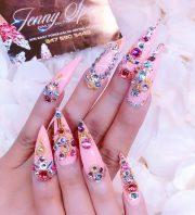 cardi pink jewels nail art