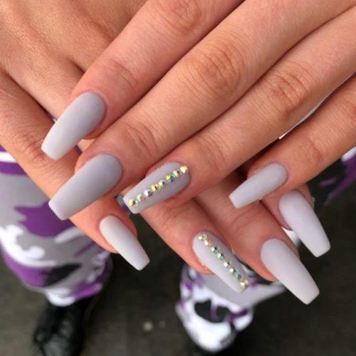 Coffin Matte Light Nails Purple