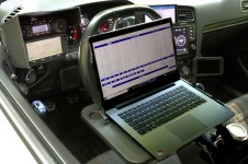 I use a portable desk and a cheap laptop for electronic logging when I park...