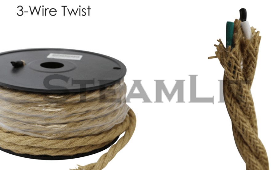 18 GAUGE 3-WIRE TWIST LAMP CORD Cloth Covered – 100FT SPOOLS – SteamLit