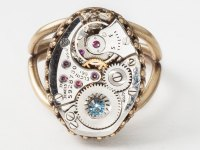 Steampunk Ring made from a watch movement, gears, blue ...