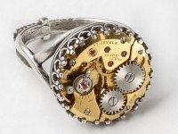 Steampunk Silver Filigree Ring with Gold Watch Movement in ...
