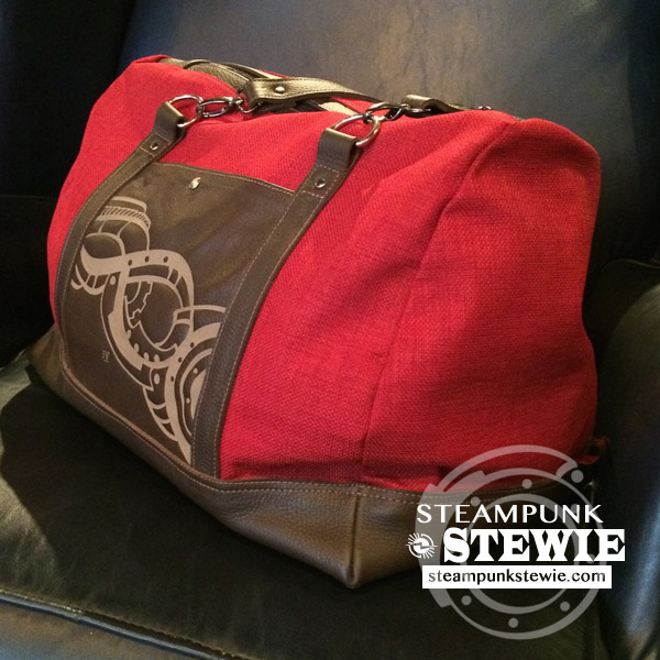 Leather Canvas Weekender Tote Duffle Bag- Steampunk Design Red Brown