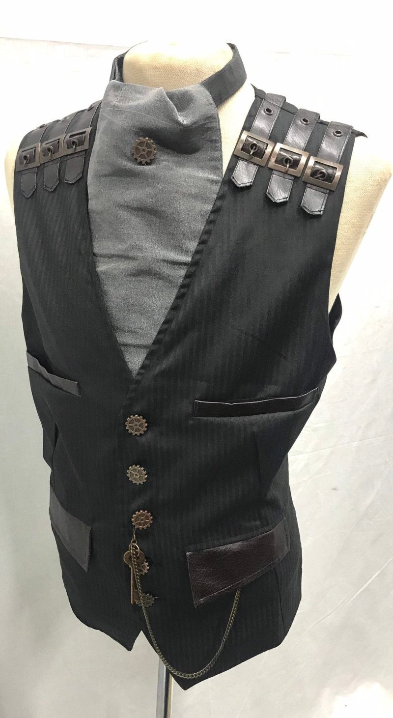 4-pcs-Steampunks-Black-Pinstripes-suit-fabric-Waistcoatgrey-silk-cravat-and-same-like-buttons-Tiepin-pocket-Chain