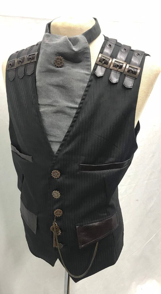 4-pcs-Steampunks-Black-Pinstripes-suit-fabric-Waistcoatgrey-silk-cravat-and-same-like-buttons-Tiepin-pocket-Chain