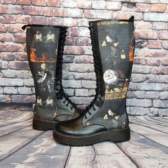Alice in wonderland platform boots.