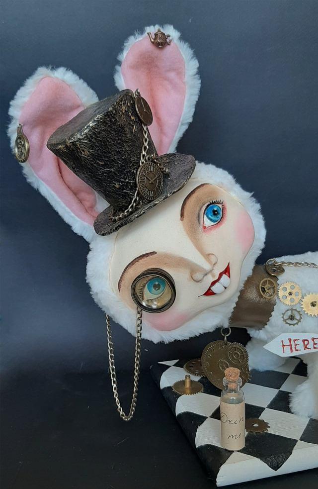 Steampunk Alice In Wonderland And White Rabbit Art Doll. 3