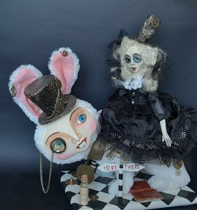 Steampunk Alice In Wonderland And White Rabbit Art Doll. 1