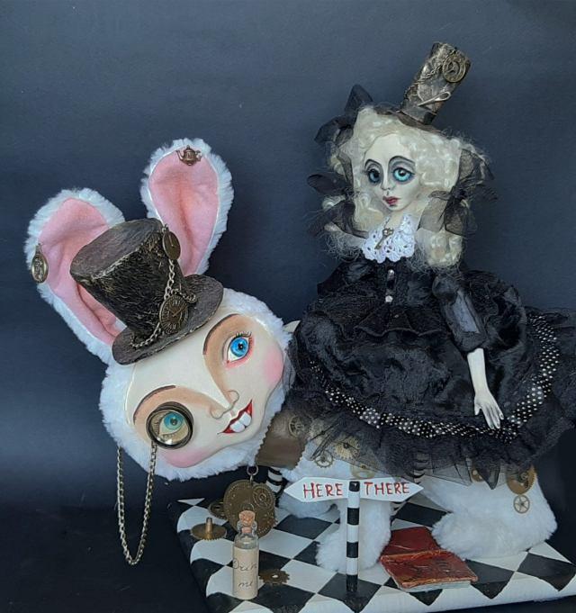 Steampunk Alice In Wonderland And White Rabbit Art Doll. 1