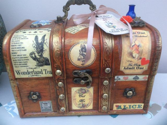 Steampunk inspired Alice in Wonderland jewellery box, trinket box. 1
