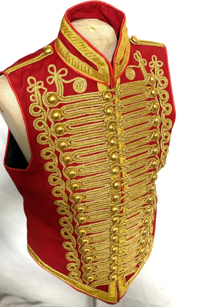 Ceremonial-Military-Army-Red-with-Gold-Braiding-Hussar-Waistcoat-with-Brass-Buttons-scaled