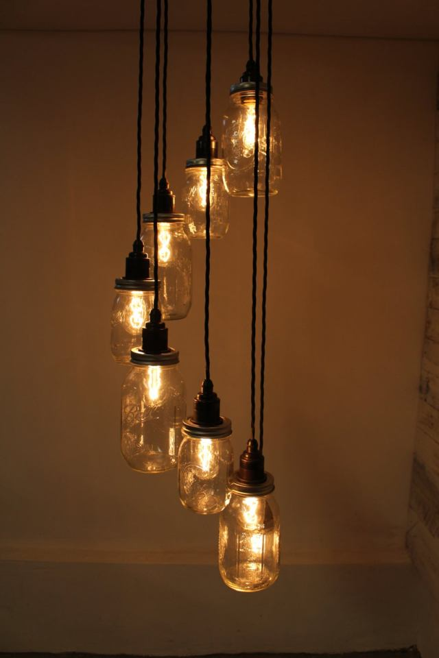 Mason Jar Steampunk Industrial Ceiling Lamp