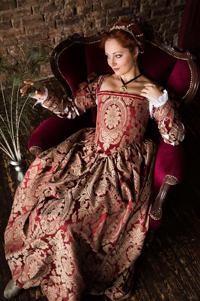 Red and Gold Renaissance Dress, One of a Kind 1550s Renaissance Gown