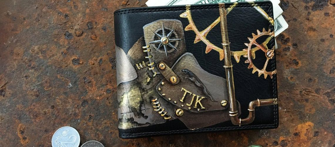 Black-leather-wallet.-Mens-steampunk-bifold-purse.-Hand-painted