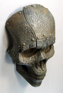 SKOKO. Robot skull mask. Steampunk face wall art. Post-apocalyptic sculpture old prop. Handmade piece by Tomàs Barceló. 5