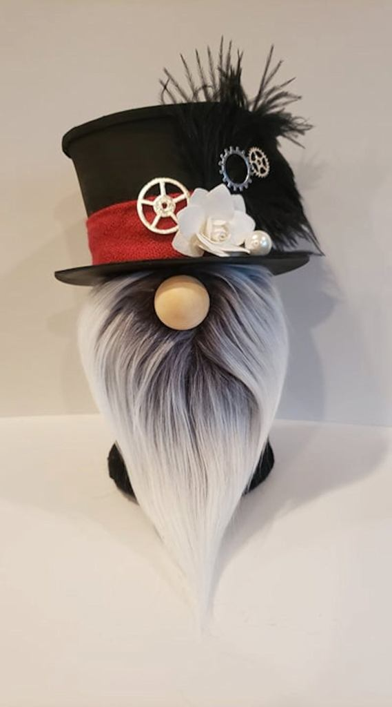 Steampunk Sock Gnome with Black Top Hat, White Flower, Gears, Black Ostrich Feather and Gray Beard