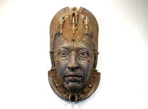 ALBERICH II. Rusted robot portrait wall art. Steampunk sculpture handmade by Tomàs Barceló. 1