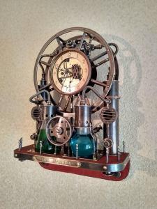 Steampunk,steam-mechanical chronometer Time Machine. Steampunk universal desktop-wall clock. 1