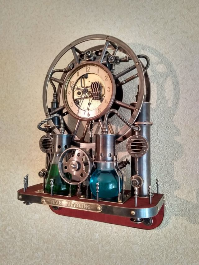 Steampunk,steam-mechanical chronometer Time Machine. Steampunk universal desktop-wall clock. 1
