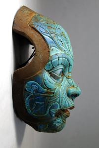 TURQUOISE TEO'S MASK. Based on Francesc Grimalt's character. Wall sculpture in resin by Tomas Barcelo. 3