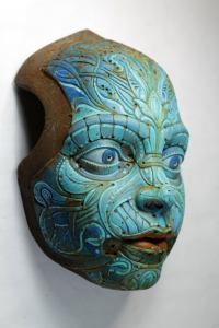 TURQUOISE TEO'S MASK. Based on Francesc Grimalt's character. Wall sculpture in resin by Tomas Barcelo.2