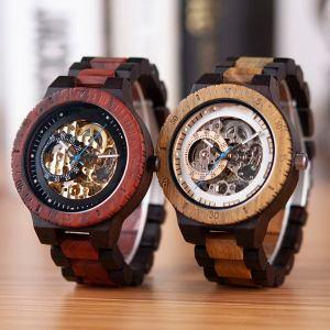 Wooden Steampunk Skeleton Wristwatch Watch. 4