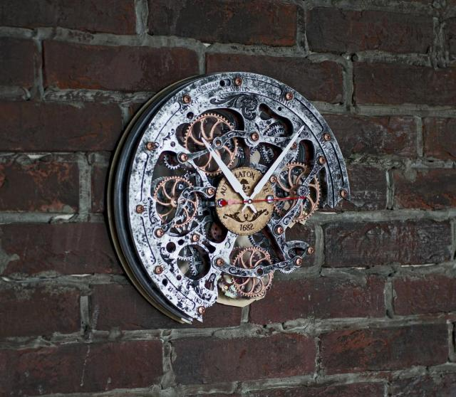 Rustic Steampunk Wall Clock, (with moving gears). Automaton Bite 1682 4