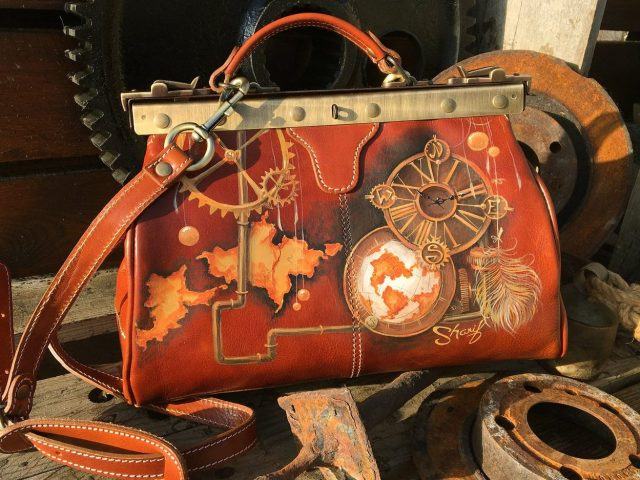 Doctor bag purse. Leather medicine bag painted in Steampunk style. Custom coordinates gift idea