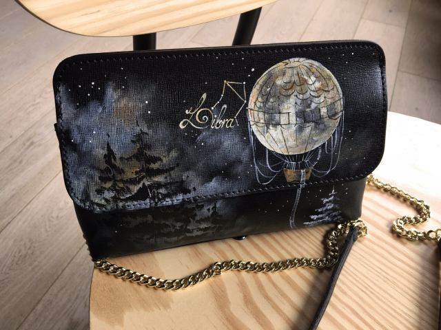 Personalized clutch Black leather monogram clutch with chain. Hand painted