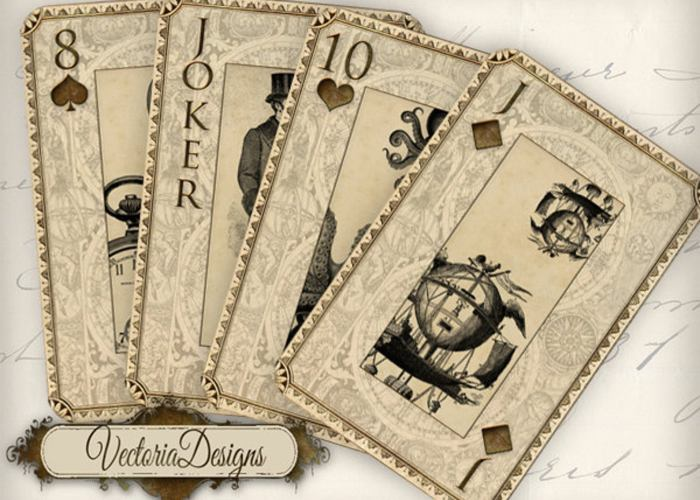 A steampunk-themed deck of cards.