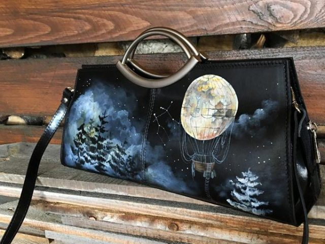 Personalized clutch. Black hand painted bag purse. Celestial and Moon art
