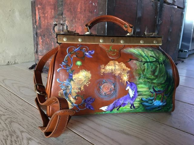 World of Warcraft purse. Steampunk doctor bag leather. Handbag hand painted
