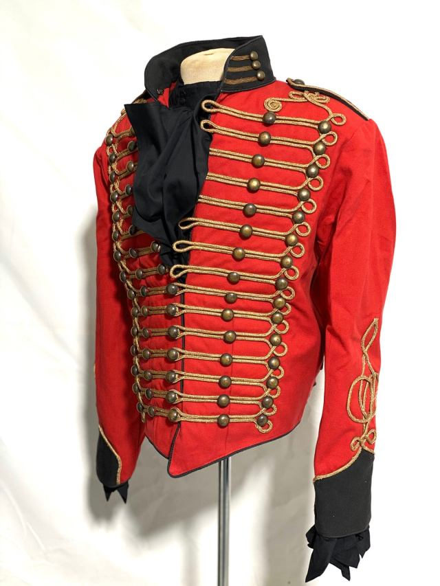 Ceremonial Men's Military-style Red/Black Jacket With Front gold Braiding jacket with black cotton ruffle shirt.