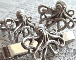 Steampunk Octopus/Kraken cufflinks & tie pin. 1