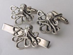 Steampunk Octopus/Kraken cufflinks & tie pin. 3
