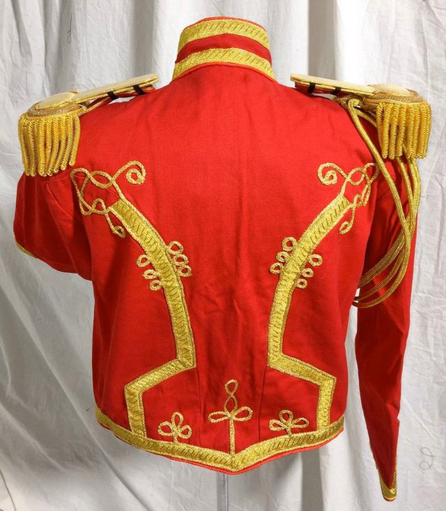 Mens General Hussar Red Jacket with gold cord braids at front back & sleeves with brass buttons back.