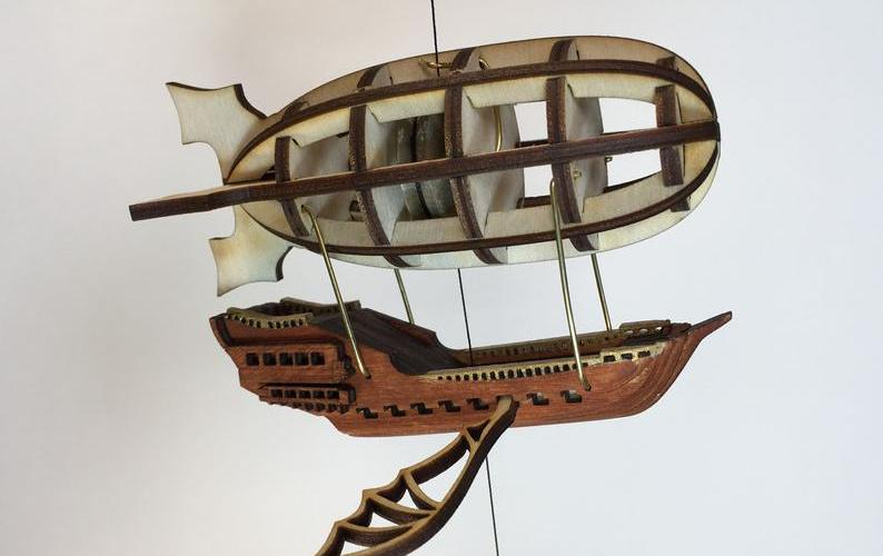 Steampunk Airship String Climbing Model Ready Made. Perfect gift. 1