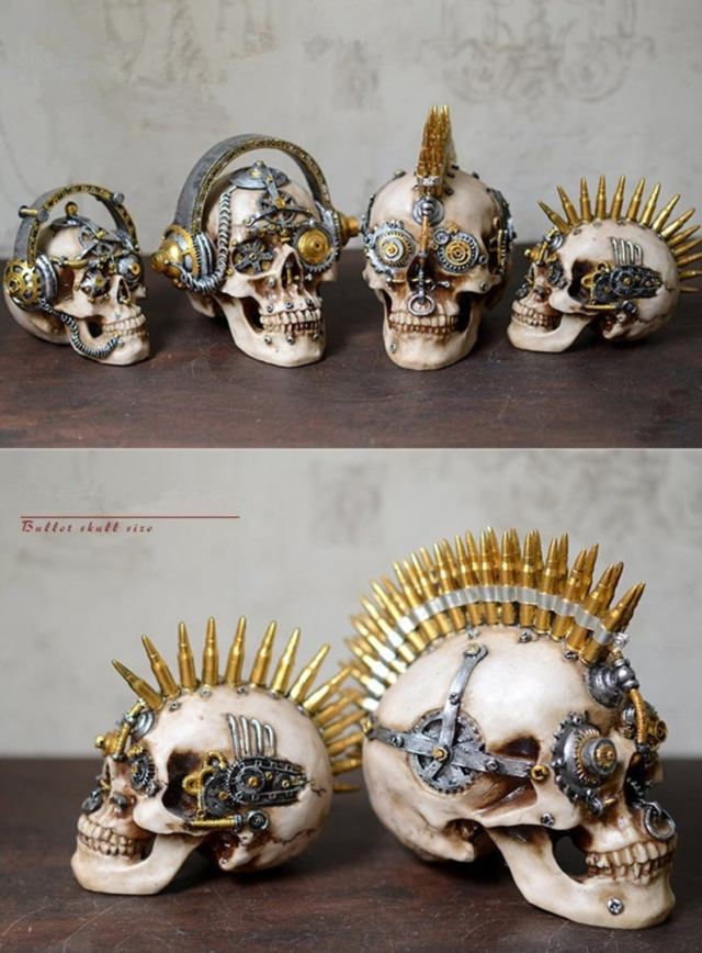 Steampunk mechanical gear skulls.
