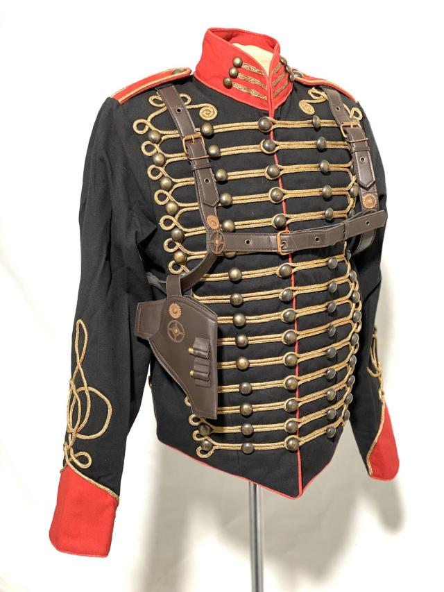 Steampunk gothic Men's Military-style Black/Red Jacket With Front antique gold Braids & brass buttons jacket with a brown harness, pouch & decorative shells.
