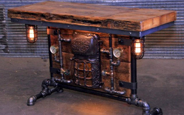 Halfway Sofa Table with a Furnace Door. Industrial Steampunk Lamp Tables by Shawn Carling.