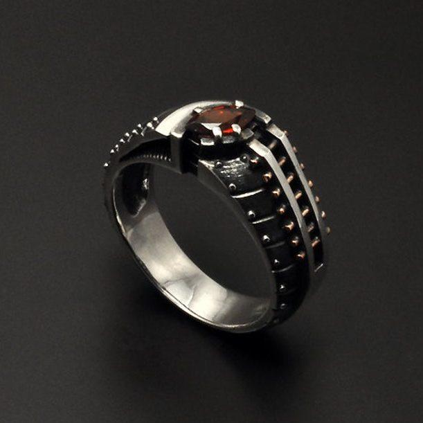 "Contemporary silver garnet ring ""Pellerendum"" | Unique silver ring for women | Industrial steampunk gemstone ring | Modern unusual jewelry"