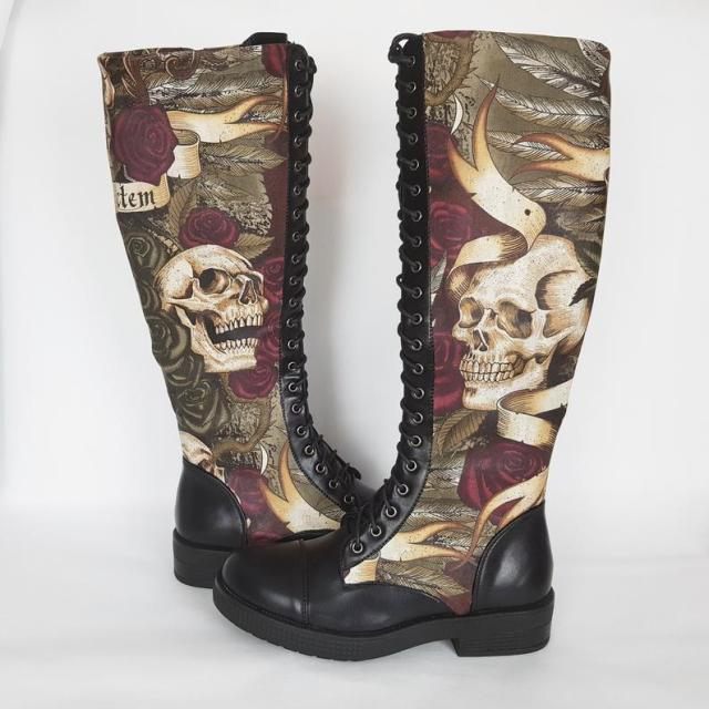 Knee high boots, skull, women shoes, custom boots, raven, rock your sole, long boots, platform boots, tattoo, gift for her, goth, steampunk