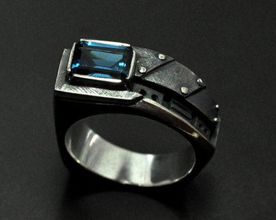 "Men's pinky London blue topaz ring ""Interrogendum"" | Sterling silver men's ring | Birthstone ring for men | Steampunk ring fine jewelry 1"