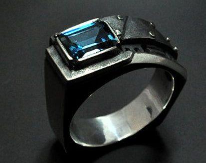 "Men's pinky London blue topaz ring ""Interrogendum"" | Sterling silver men's ring | Birthstone ring for men | Steampunk ring fine jewelry"